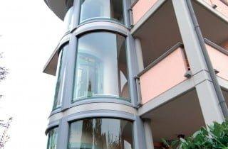 ascensore esterno panoramico in vetro